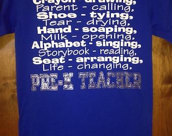 Pre-K Teacher Spirit Shirt..Sizes S-XXL