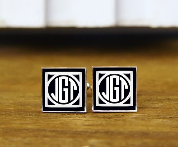 monogram initial cufflinks, monogram cufflink, custom initial square cufflink & tie clip, square groom cuff links, trending cufflink for men