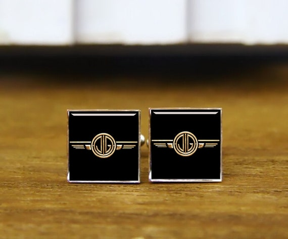 initial and angel wings cufflinks, custom 2 letters cufflinks, round or square cufflinks & tie clips, groom wedding cufflinks, 1920s style