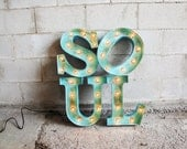 "28"" stacked ""Soul"" sign with distressed paint and patina"