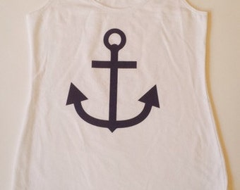 White Tank with Navy Anchor