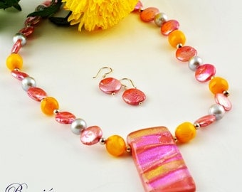Pink necklace Dichroic pendant necklace Amber necklace Gemstone Jewellery Semi precious jewellery Unique Glass Jewellery Sterling Silver