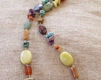 Natural stone-colorful-Gemstone-Necklace-Jewelry-Multi color-Gift-