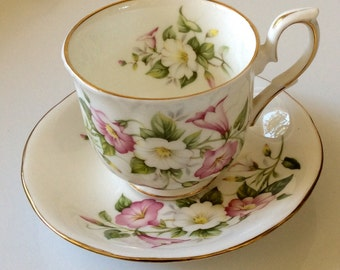 Duchess China, Cup and Saucer, Made in England, Pink Floral China, Floral Teacup, Teacup Collector, Bone China, China Cup & Saucer, Birthday