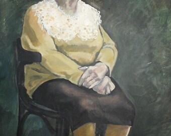 Vintage European art oil painting sitting woman portrait