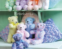 Teddy bear Knitting Pattern Cushion Knitting Pattern - chunky textured yarn -  Toys Knitting Patterns  - PDF instant download