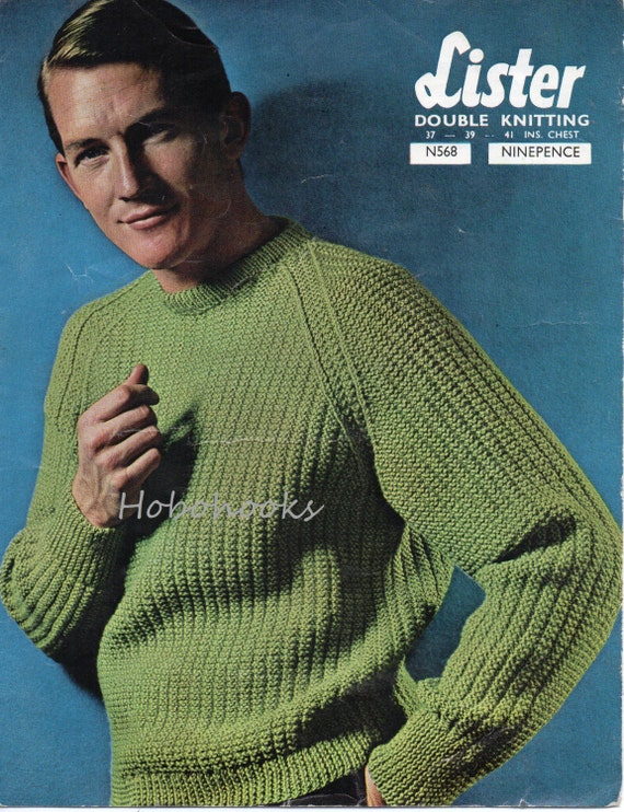 Mens Jumper Knitting Pattern : Mens ribbed sweater knitting pattern fishermans rib by Hobohooks