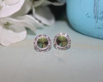 Olive Crystal Post Earrings Rivoli 13mm