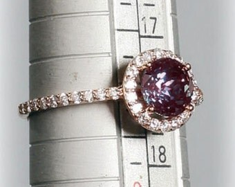 14K Rose Gold Diamond & Chatham Alexandrite Halo Style Engagement Ring 7, Set with a 1.03 Carat or 6.5 MM Lab Created Alexandrite Gemstone