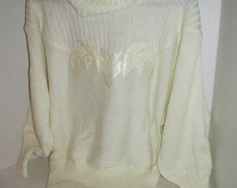 Women's Vintage ANGENIE White Turtleneck Sweater