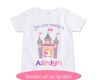 Girls Princess Birthday shirt, Toddler Custom kids Name shirt princess castle Granddaughter gift personalize with any name and age! (EX 303)