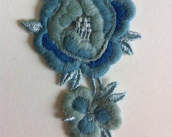 Vintage Blue Rose Applique