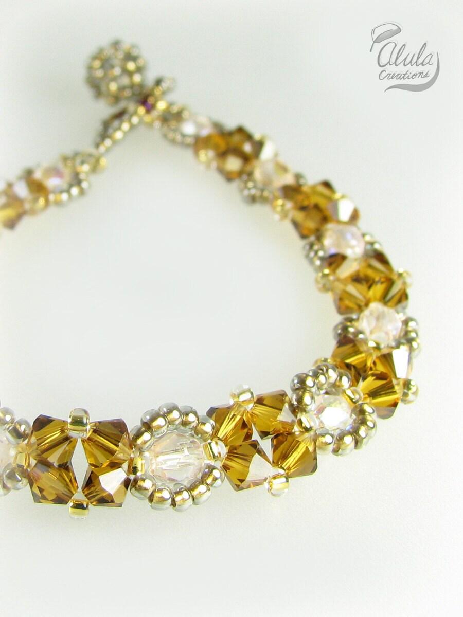 beaded bracelet swarovski woven bracelet beaded