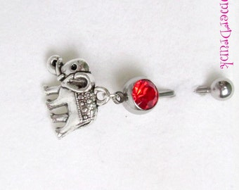 Elephant belly button ring , Navel ring, Belly button Jewelry, Belly button piercing, Belly button ring