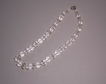 Vintage crystal necklace, crystals, large crystal beads