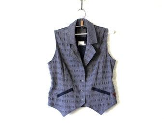 Blue Plaid Vest Womens Checkered Waistcoat with metal thread Large Size