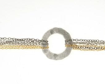 Chainmaille Bracelet  -  Geometric Bracelet - Circle bracelet -  Chain Bracelet  - Metalwork silver Circle