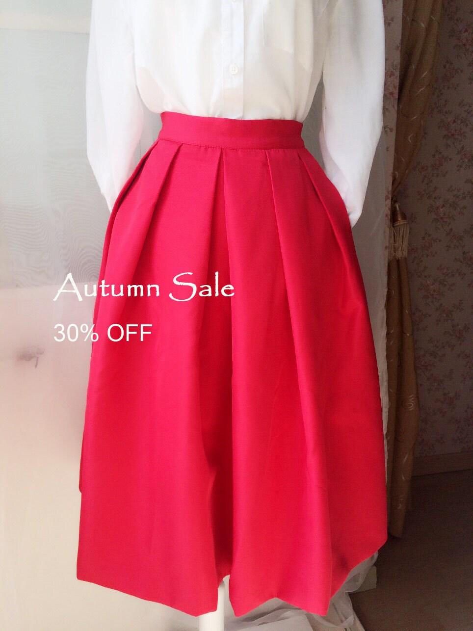 3 Color – Women Midi Skirt Circle Pleated Midi Skirt Full Red ...