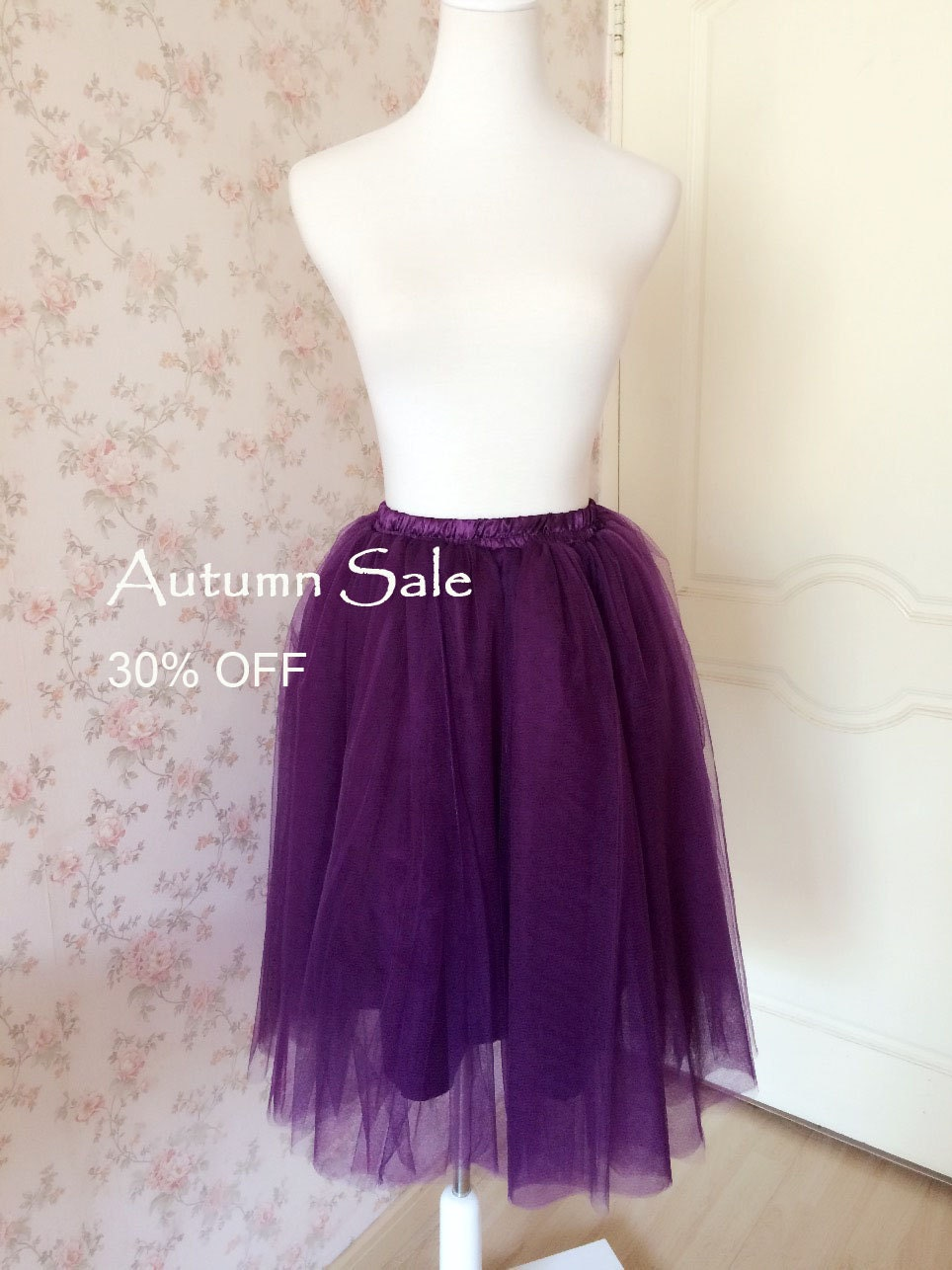 Women Handmade Tulle MAXI SKIRT Tea Length Skirts Purple Party Skirt Long Tutu Wedding Bridesmaid CUSTOM