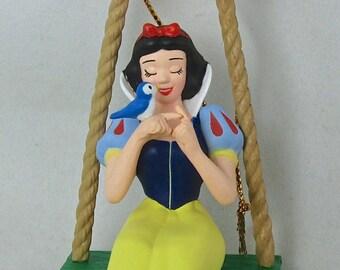 Grolier Snow White Ornament on Swing Disney Magic in Box DCO Vintage Princess and the Seven Dwarfs 7 Dwarf