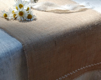 Natural 100% jute Burlap Table Runner With Fringe and Hand Embroidered Edge.Custom Sizes Available