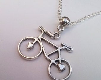 Bicycle Necklace , Bike Necklace , Love To Ride , Bohemian Jewelry , Chain Necklace , Silver Necklace , Handmade Jewelry , Cyclist Gift