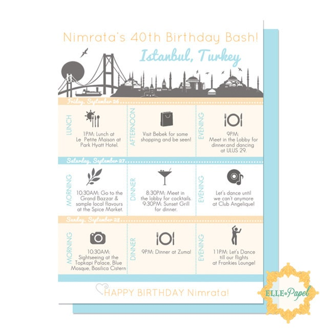Printable Itinerary for Any Vacation Couples Getaway Family – Birthday Itinerary Template