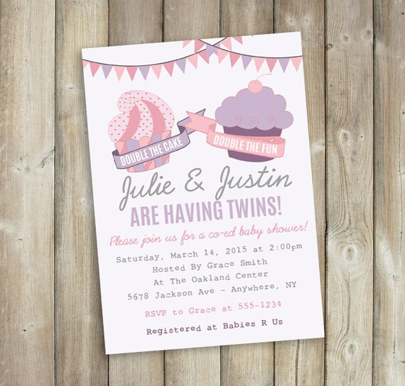twins baby shower invitation co ed baby shower invite double the