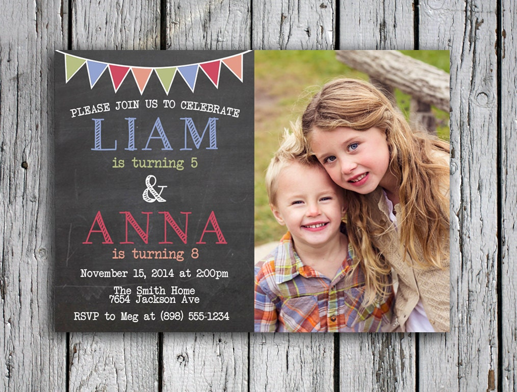 Twins Birthday Invitation Joint Birthday Party Invite