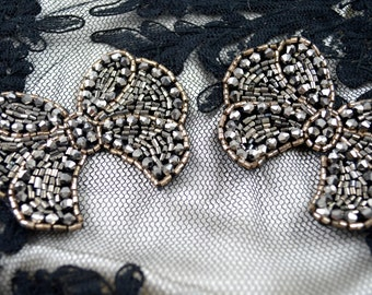 Sparkling Black and Grey Crystal Beaded Bow Applique