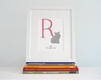 Customised Baby Zoo Alphabet - The Letter R is for Rhino - Baby Name Keepsake - Christening Gift - New Baby Monogram - Prints for Playroom