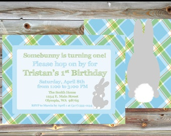 Bunny Theme First Birthday Invitation - Double Sided Bunny Plaid Birthday Invitation - Blue and Green Plaid Birthday Invitation for Boy