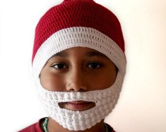 Hat with Beard , Fun hat for kids , Santa Hat , Christmas ,  Crochet Pattern