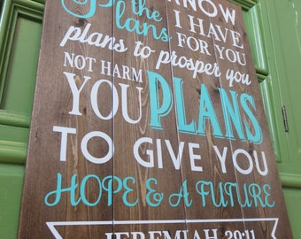 Planked Jeremiah Bible Verse Wood Sign