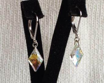 Rhombus Swarovski Earrings, Swarovski Crystal AB Earrings, Bridal Earrings, Swarovski Jewelry