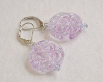 Venetian Glass Earrings, Czech Glass Earrings,  Lampwork  Earrings, Pink Glass Earrings