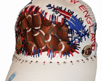 New England Patriots stitched white adjustable hat with Swarovski crystals & football charm