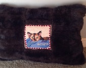 custom-designed needlepoint cat pillow