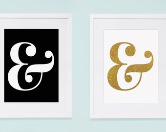 Ampersand Wall Art gold ampersand | etsy