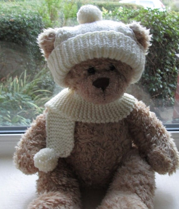Knitting Pattern For Teddy Bear Scarf : Teddy Bear Clothes Aran Bobble hat & Scarf Hand Knitted