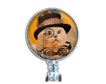 Badge Reel ID Retractable Lanyard Name Card Badge Holder Steampunk Ginger Cat With Black Hat With Goggles And Spectacle