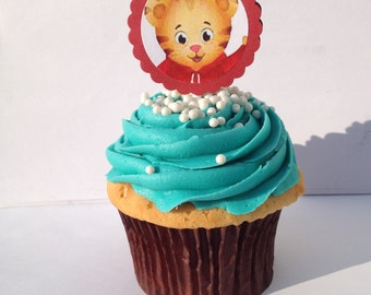 Daniel Tiger's Neighborhood cupcake toppers, 25 ct / katarina meow meow / o the owl / prince wednesday / miss elena / pbs kids