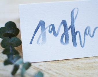 Watercolor Modern Calligraphy Place Cards | Custom | Escort Cards | Special Events | Wedding | Rehearsal Dinner | Rustic | Personalized