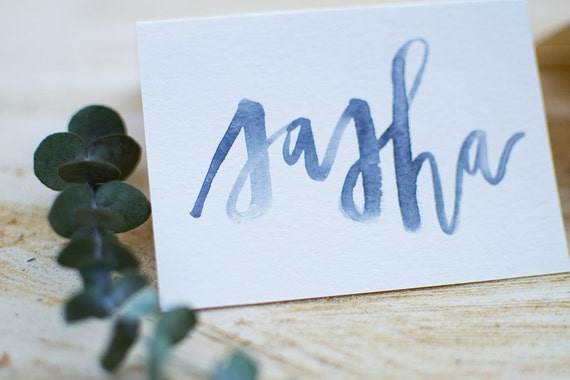 Modern calligraphy watercolor place cards by