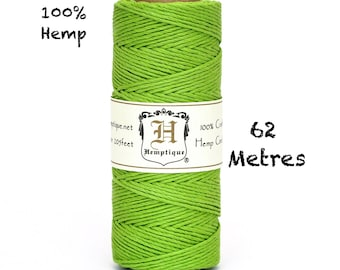 Hemp Macrame Cord Hemptique Lime Green Eco Friendly Twine 62.5m