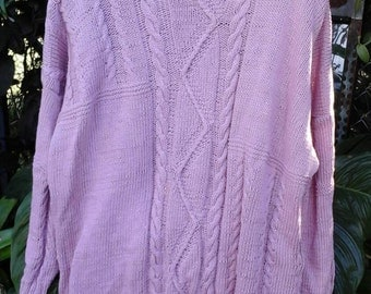 PINK FISHERMAN SWEATER, hand knitted with interesting pattern in front, sleeves and back.