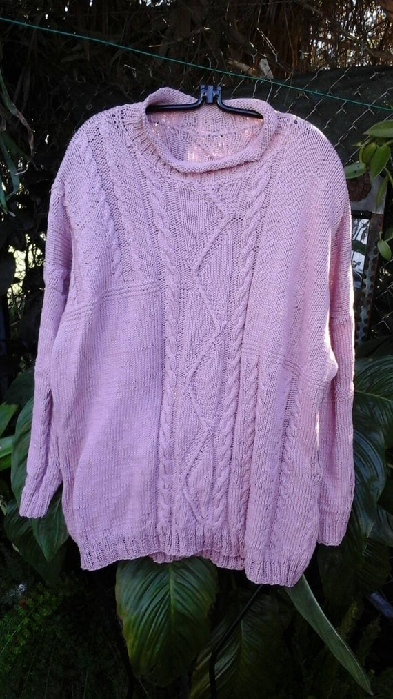 PINK FISHERMAN SWEATER hand knitted with interesting pattern