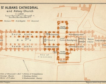 1930 Antique St. Alban's Cathedral London Floor Plan