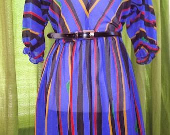 Hipster Retro Multi-colored Midi dress w/belt