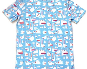 YUK FUN Animal faces all-over print T-shirt, illustration tshirt, all over print tshirt, mens tshirt, womens tshirt, unique tshirt, unisex